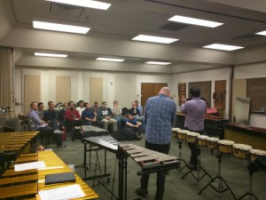 So Percussion presenting their Reich Drumming class to UT Percussion Students.